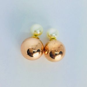 New! Champagne Gold Double Sided Studs Earrings